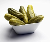 Pickles in a Square White Bowl