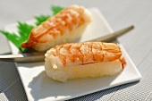 Two prawn nigiri sushi