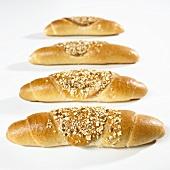 Four grain baguettes rolls