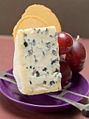 Piece of blue cheese, red grapes and crackers