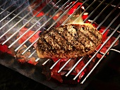 Beefsteak on a barbecue