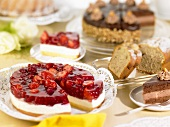 Cake buffet with cheesecake, chocolate cake, loaf cake