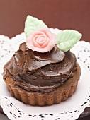 Chocolate cake with marzipan rose