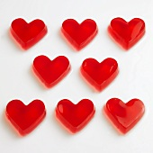 Red raspberry jelly hearts
