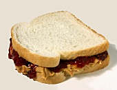 Peanut Butter and Jelly Sandwich on White Bread; Whole