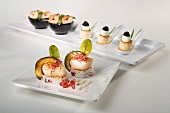 Appetisers with scallops, prawns, quails' eggs