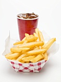 A cola and a portion of chips