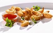 Deep-fried prawns with chilli dip