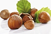 Hazelnuts with leaves (close-up)
