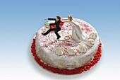 Wedding cake (marzipan-covered)