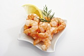 Several peeled and cooked prawns