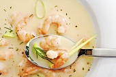 Prawn soup with leeks and dill (detail)