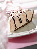 Slice of Ice Cream Pie with Chocolate Drizzles