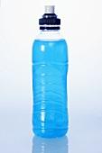 Blue energy drink in plastic bottle