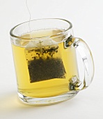 Glass Mug of Green Tea with Tea Bag