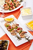 Grilled Shrimp Skewers on Rosemary Branches; Lemon Aioli
