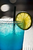 Blue Margarita with Lime Slice