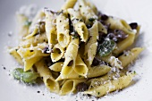 Penne Pasta with Fava Beans, Mushrooms and Parmesan Cheese