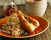 Thailändische Garnelen mit Nudeln