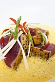Seared Tuna with Hearts of Palm, Sea Beans and Lobster Curry Sauce