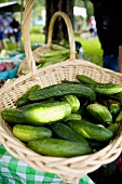 Basket of Cucumbers at Farmer's Market