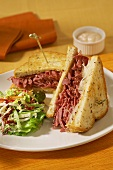 Corned Beef Sandwich with Side Salad
