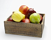 Assorted Apples in a Wooden Box