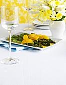 Asparagus and orange salad on a platter