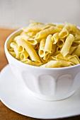 Plain Pasta in a White Bowl