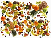 Many different types of fruit against white background
