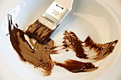 Brush with chocolate in a dish