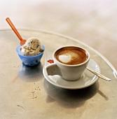 A cup of espresso and ice cream