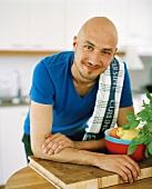 A man in a kitchen