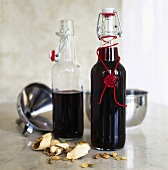Home-made mulled wine in two flip-top bottles