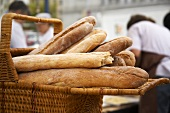 Basket of Artisan Bread at Market