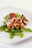 Ham rolls with rocket and figs