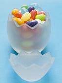 Jelly beans in glass Easter egg