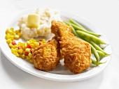 Breaded chicken drumsticks
