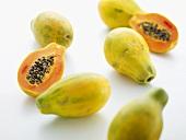 Papaya halves and whole papayas
