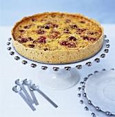 Fruit tart on cake stand
