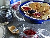 Blueberries, cranberries, baking ingredients, tartlets, biscuits