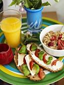 Healthy breakfast on coloured tray