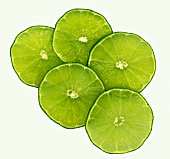 Five slices of lime (overhead view)