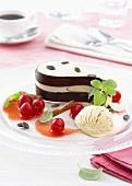 Pumpkin parfait with vanilla ice cream and cherries