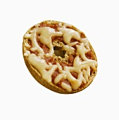 Mini Bagel Pizza on White Background