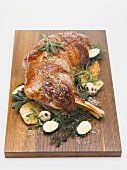 Roast lamb with quails' eggs for Easter