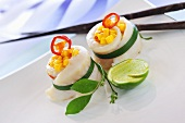 Sole rolls with mango and chilli