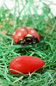 Red sugar egg and ladybird in Easter nest
