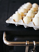 Tray of eggs on a cooker
