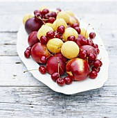 Plate of fruit on wooden table